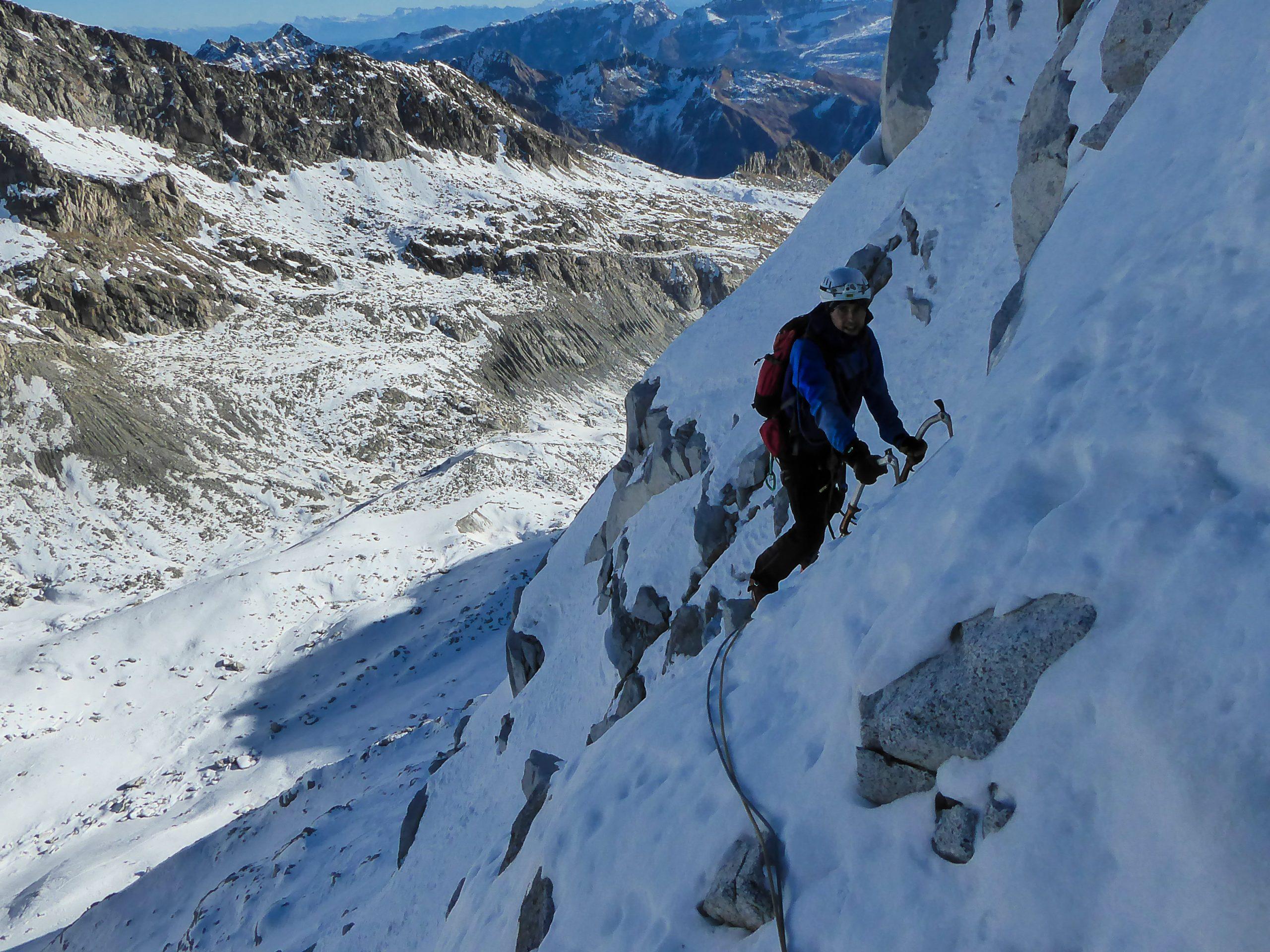 Monte Nero di Presanella – Clean Climb - L'arrivo in sosta del terzo tiro