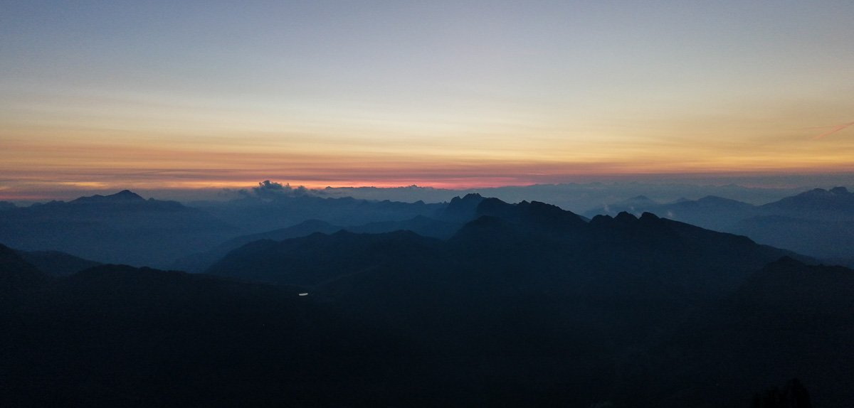 Il tramonto ci sorprende ormai alla fine della via - Pala di San Martino – Gran Pilastro (Langes-Merlet)