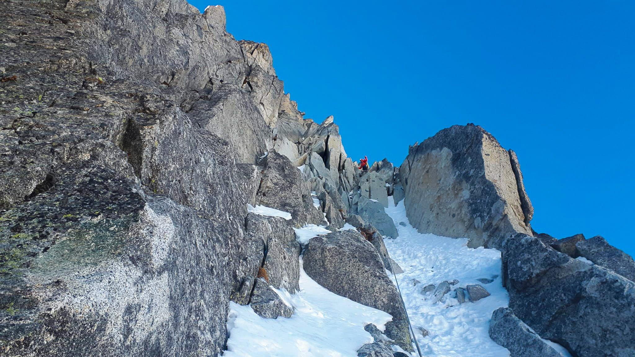 Monte Nero di Presanella – Clean Climb - La sosta del nostro sesto tiro